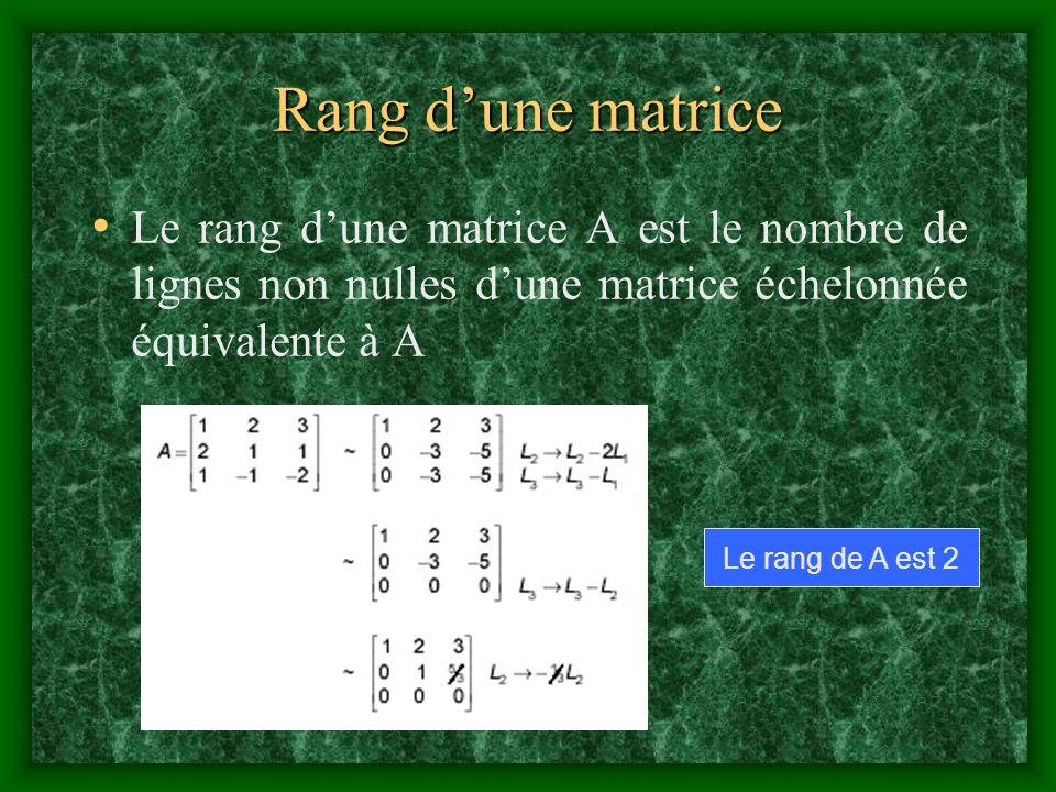 Rang d'une matrice Le rang d'une matrice A est le nombre de lignes non nulles d'une matrice échelonnée équivalente à A.