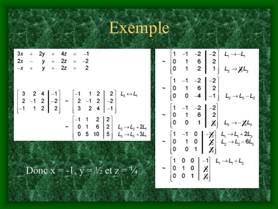 Exemple Donc x = -1, y = ½ et z = ¼