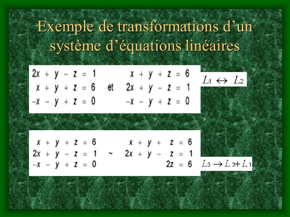 Exemple de transformations d'un système d'équations linéaires