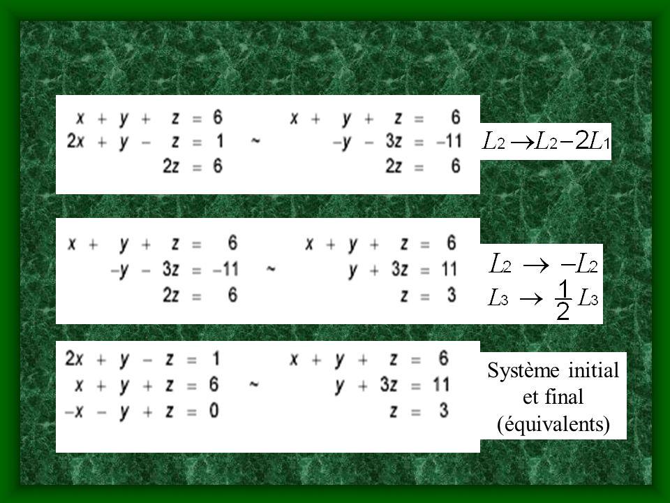 Système initial et final (équivalents)