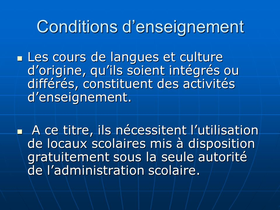 Conditions d'enseignement