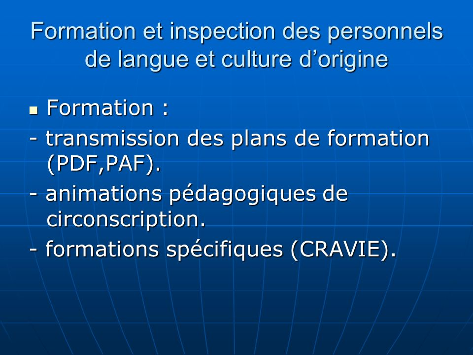 Formation et inspection des personnels de langue et culture d'origine