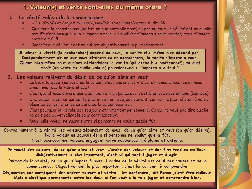 1. Valeur(s) et vérité sont-elles du même ordre