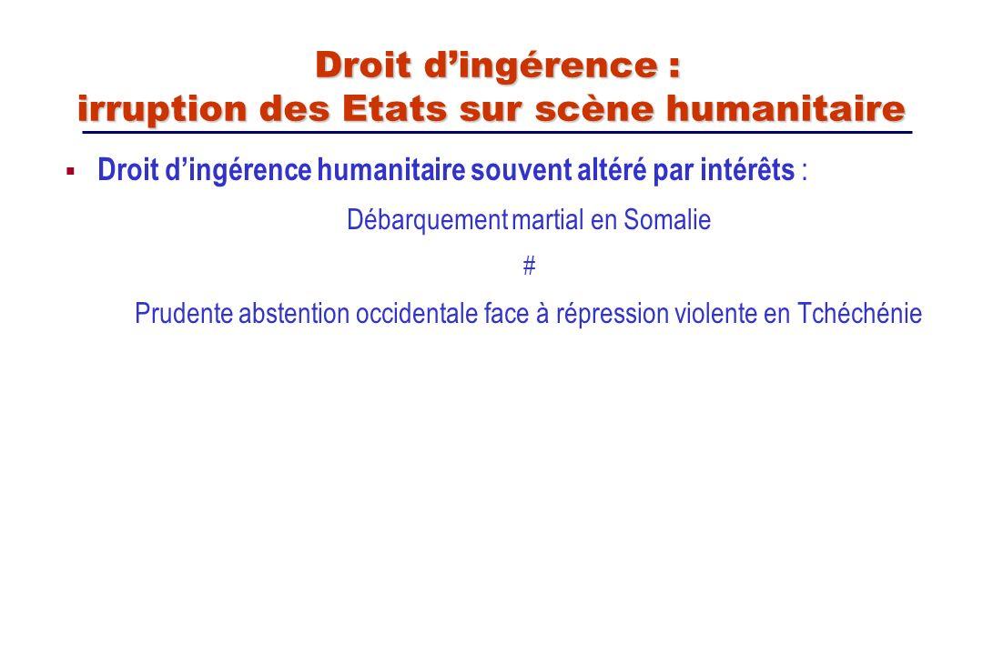 Droit d'ingérence : irruption des Etats sur scène humanitaire