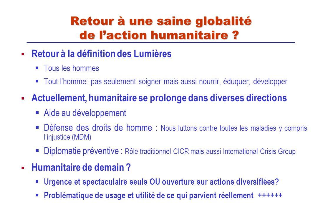 Retour à une saine globalité de l'action humanitaire