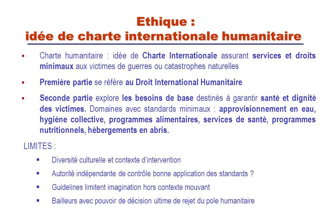 Ethique : idée de charte internationale humanitaire