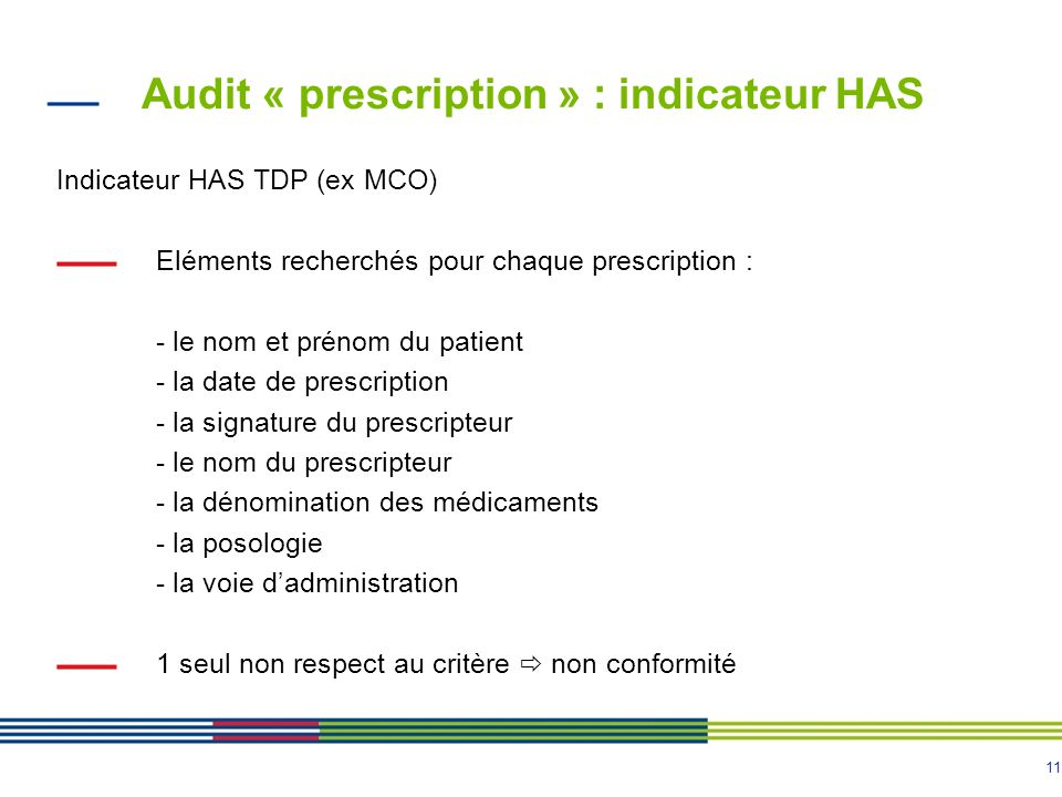 Audit « prescription » : indicateur HAS