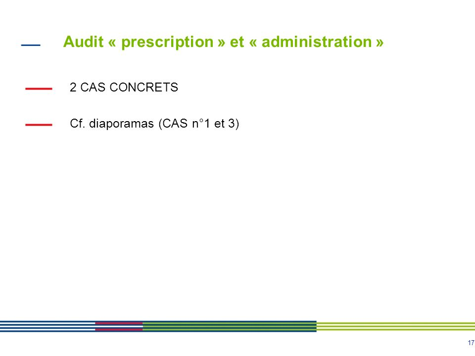 Audit « prescription » et « administration »