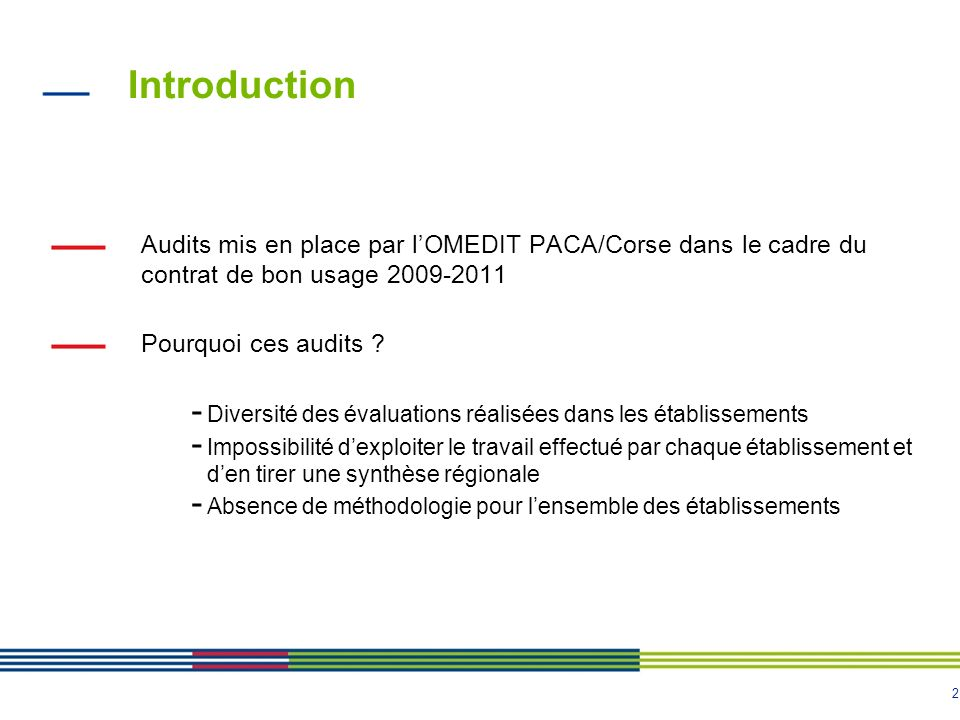 Introduction Audits mis en place par l'OMEDIT PACA/Corse dans le cadre du contrat de bon usage 2009-2011.