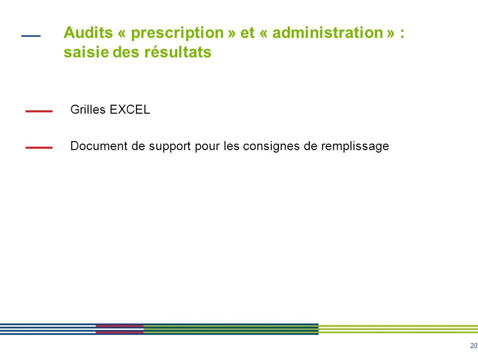 Audits « prescription » et « administration » : saisie des résultats