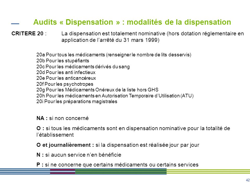 Audits « Dispensation » : modalités de la dispensation