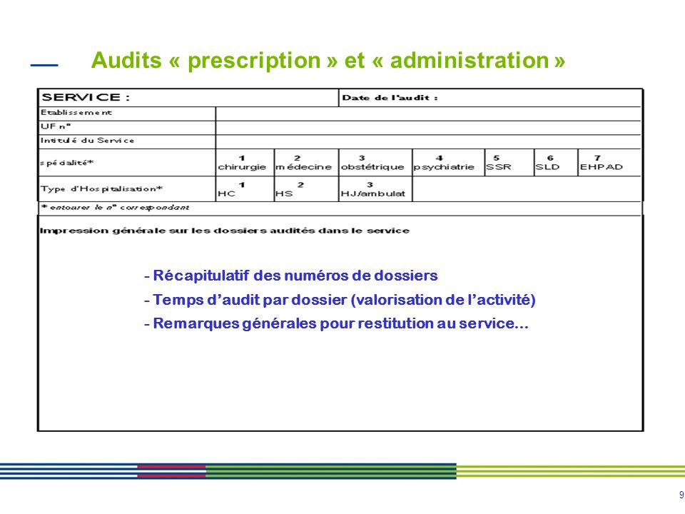 Audits « prescription » et « administration »