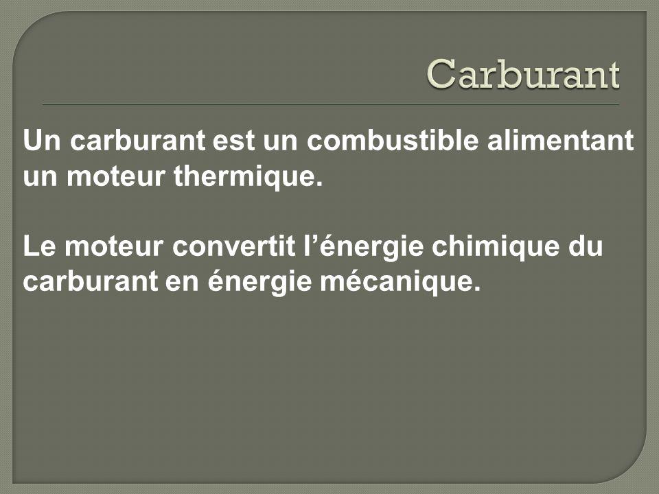 Carburant Un carburant est un combustible alimentant un moteur thermique.