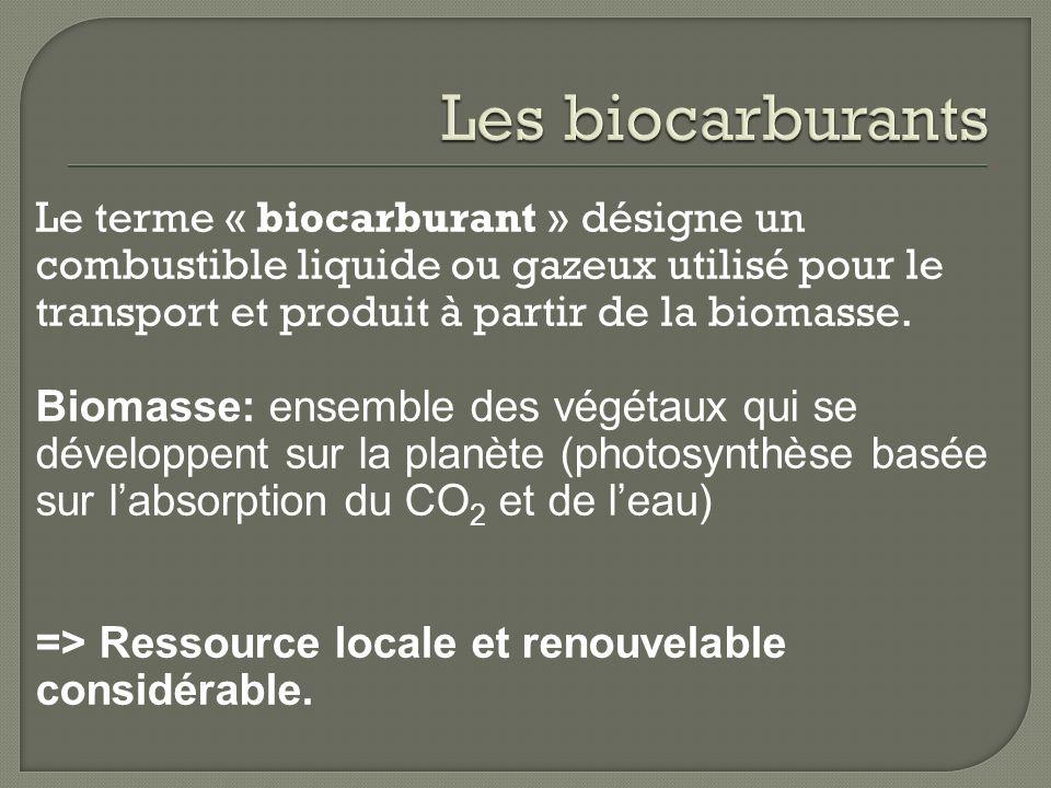 Les biocarburants Le terme « biocarburant » désigne un combustible liquide ou gazeux utilisé pour le transport et produit à partir de la biomasse.