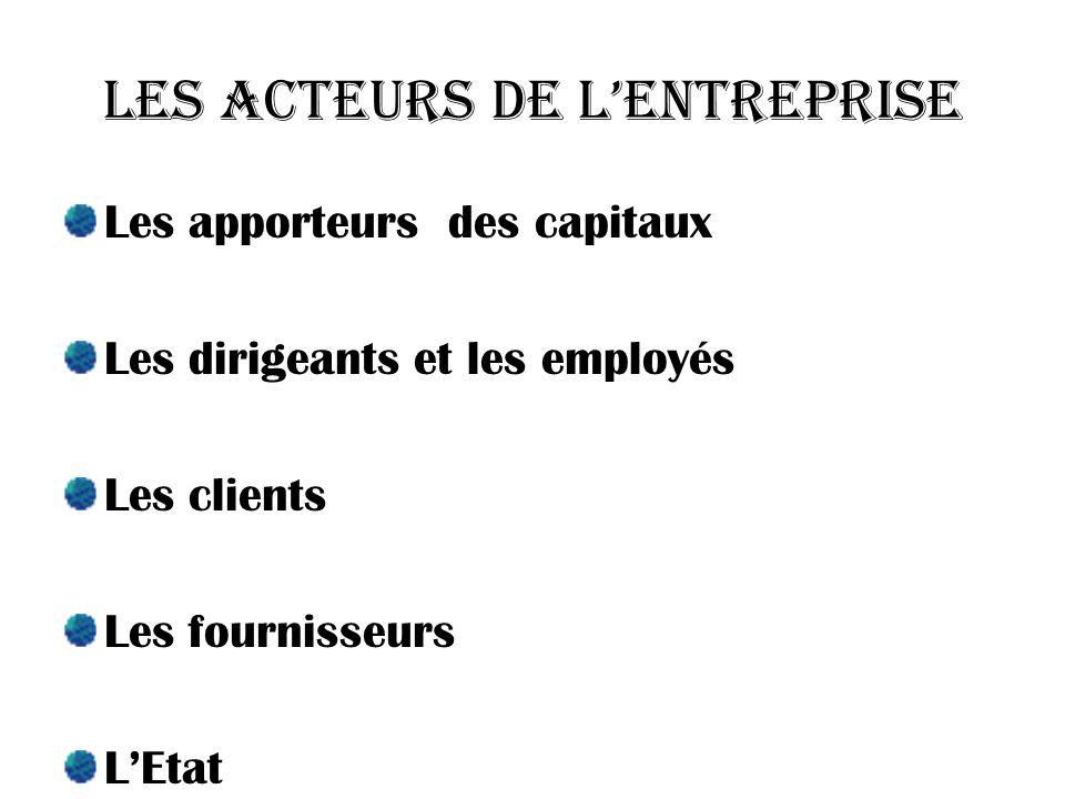 Les acteurs de l'entreprise