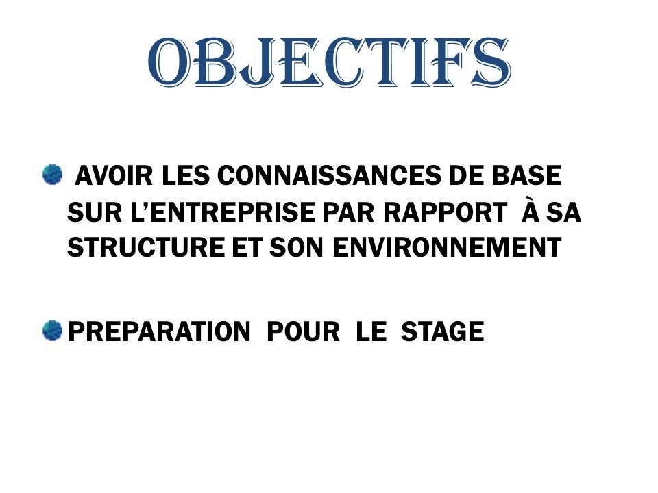 OBJECTIFS Avoir les connaissances de base sur l'entreprise par rapport à sa structure et son environnement.