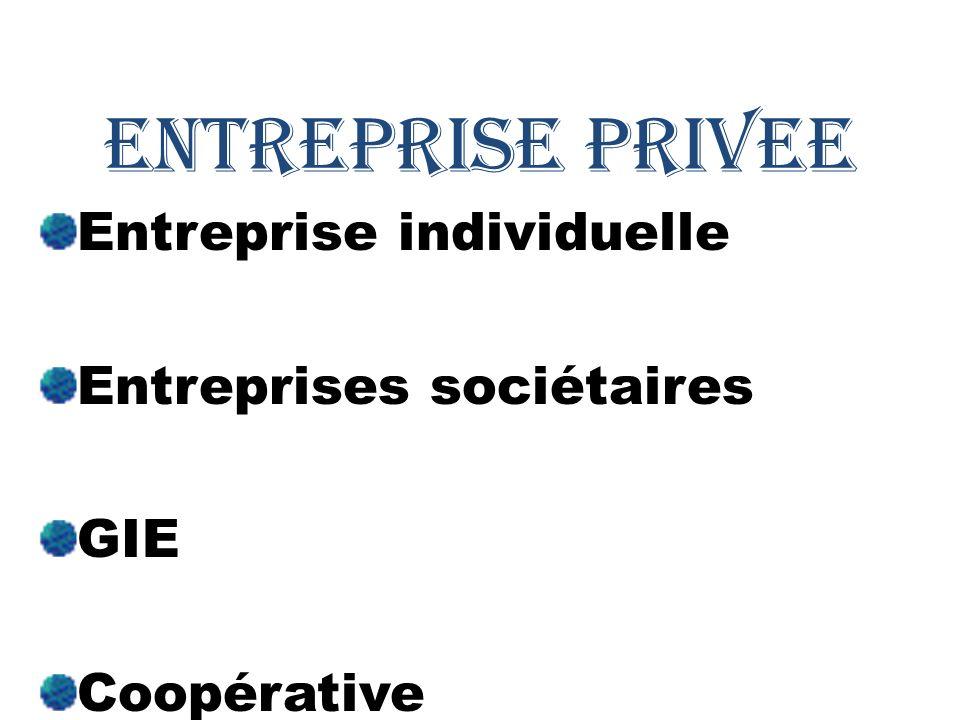 Entreprise individuelle Entreprises sociétaires GIE Coopérative