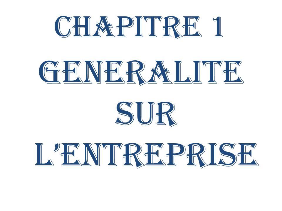 GENERALITE SUR L'ENTREPRISE