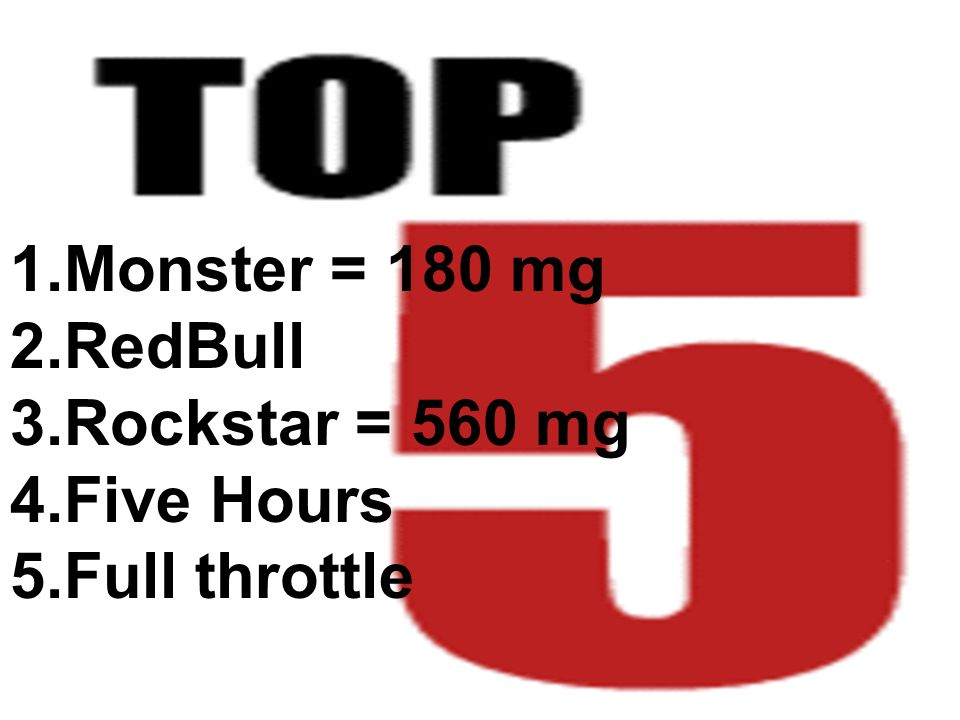 1.Monster = 180 mg 2.RedBull 3.Rockstar = 560 mg 4.Five Hours 5.Full throttle