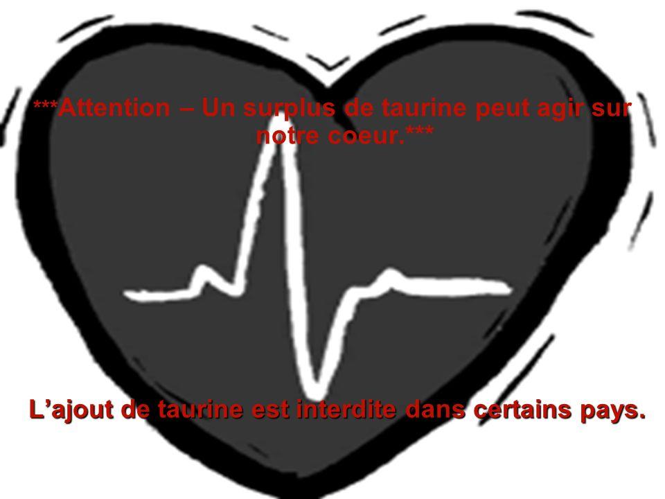 ***Attention – Un surplus de taurine peut agir sur notre coeur.***