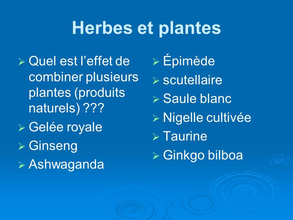 Herbes et plantes Quel est l'effet de combiner plusieurs plantes (produits naturels) Gelée royale.