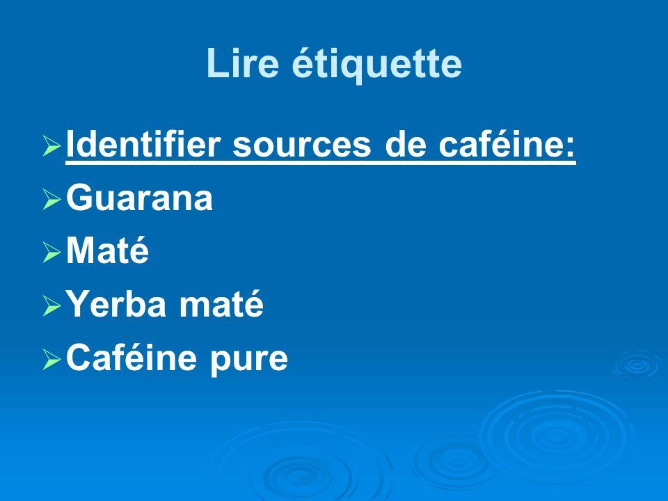 Lire étiquette Identifier sources de caféine: Guarana Maté Yerba maté