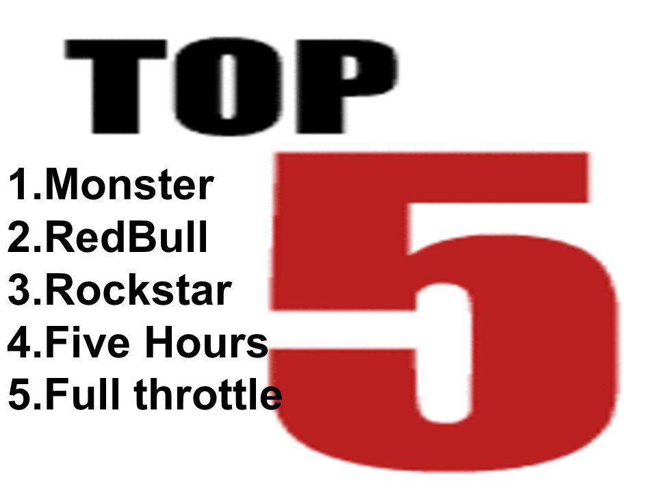 1.Monster 2.RedBull 3.Rockstar 4.Five Hours 5.Full throttle