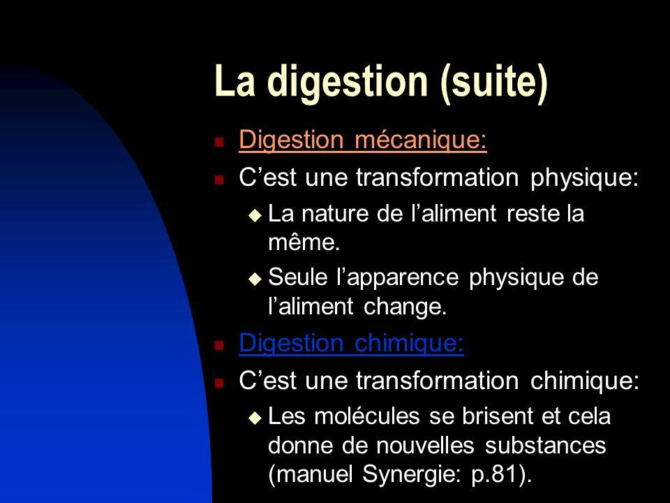 La digestion (suite) Digestion mécanique: