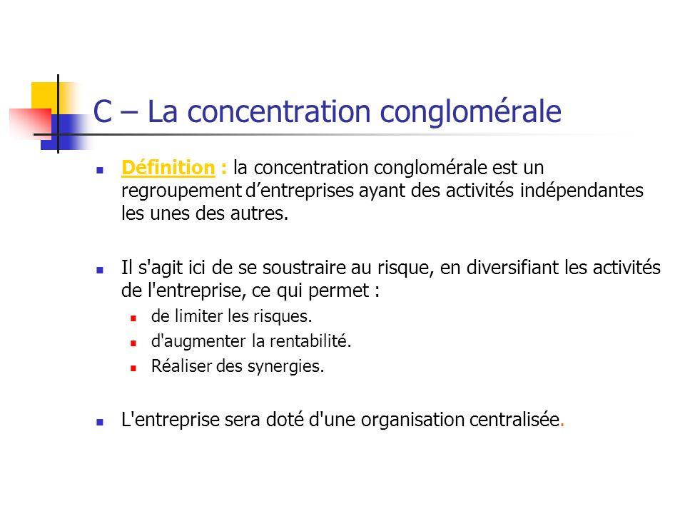 C – La concentration conglomérale