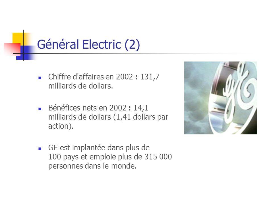 Général Electric (2) Chiffre d affaires en 2002 : 131,7 milliards de dollars.