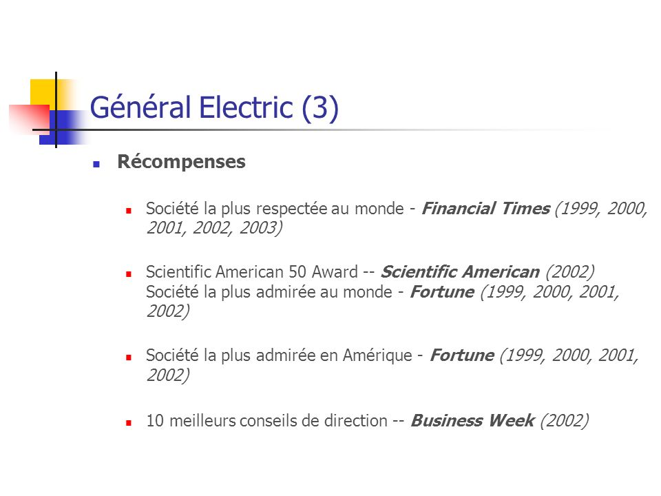 Général Electric (3) Récompenses