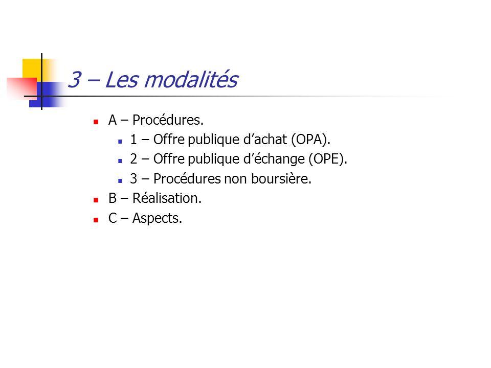 3 – Les modalités A – Procédures. 1 – Offre publique d'achat (OPA).
