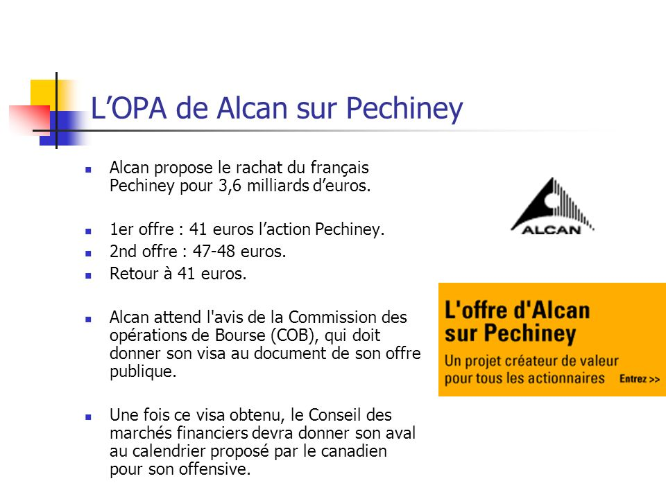 L'OPA de Alcan sur Pechiney