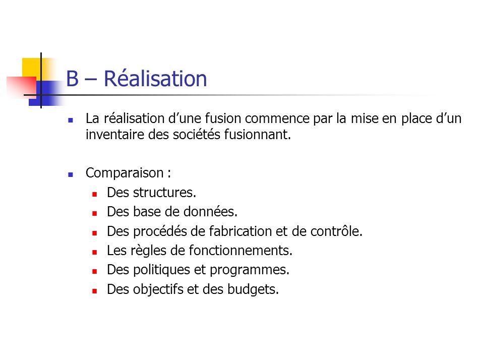 B – Réalisation La réalisation d'une fusion commence par la mise en place d'un inventaire des sociétés fusionnant.