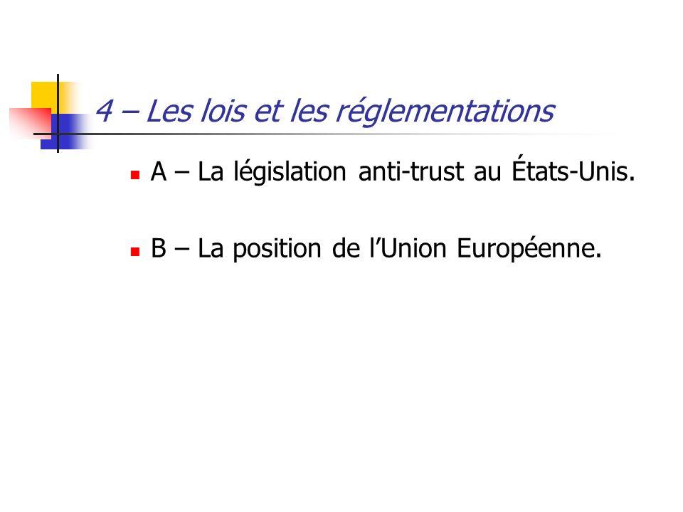 4 – Les lois et les réglementations