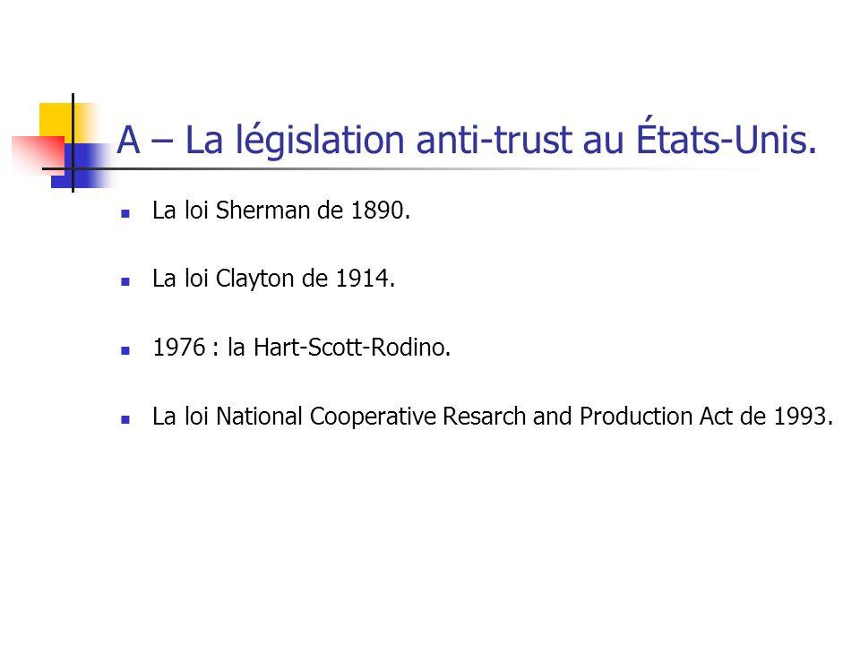 A – La législation anti-trust au États-Unis.
