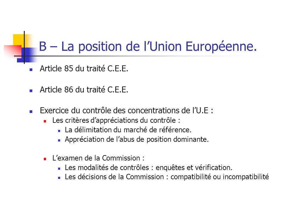 B – La position de l'Union Européenne.