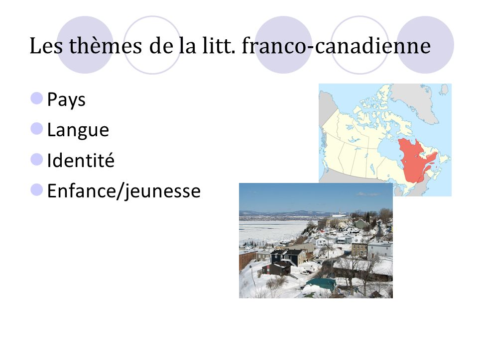 Les thèmes de la litt. franco-canadienne