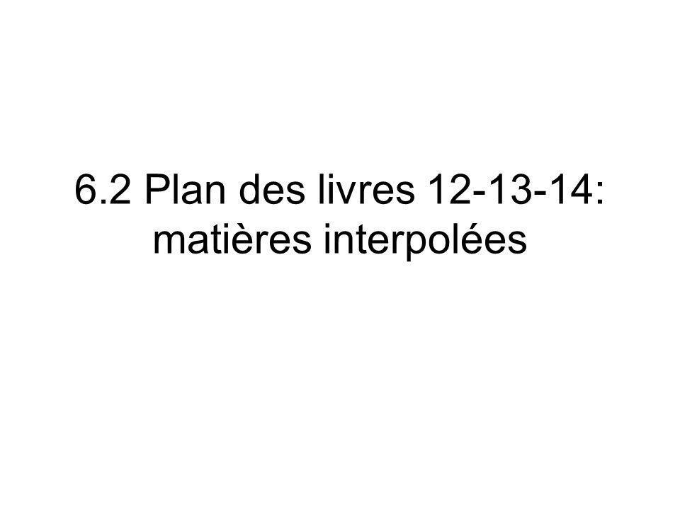 6.2 Plan des livres 12-13-14: matières interpolées