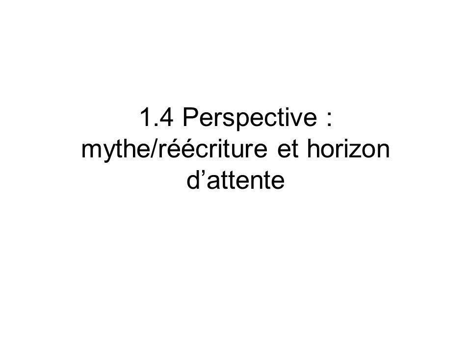 1.4 Perspective : mythe/réécriture et horizon d'attente