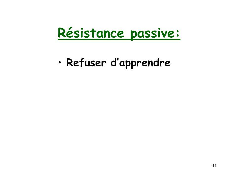 Résistance passive: Refuser d'apprendre