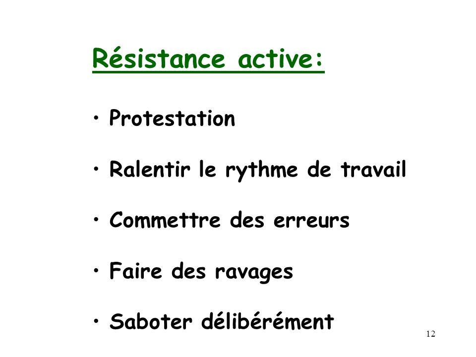 Résistance active: Protestation Ralentir le rythme de travail