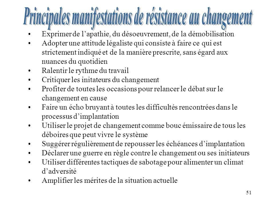 Principales manifestations de résistance au changement