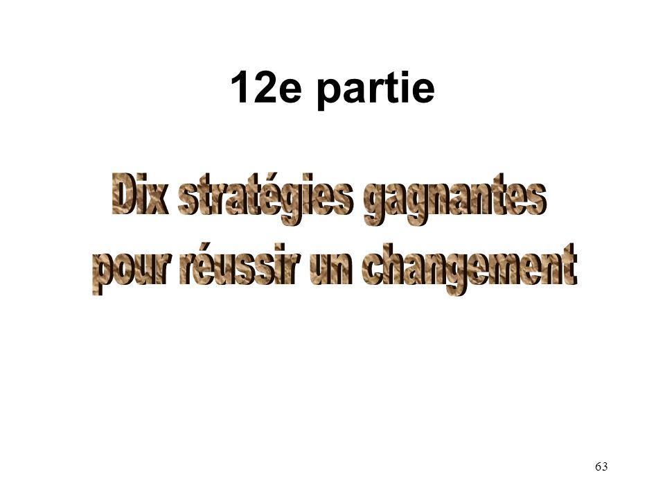 12e partie Dix stratégies gagnantes pour réussir un changement