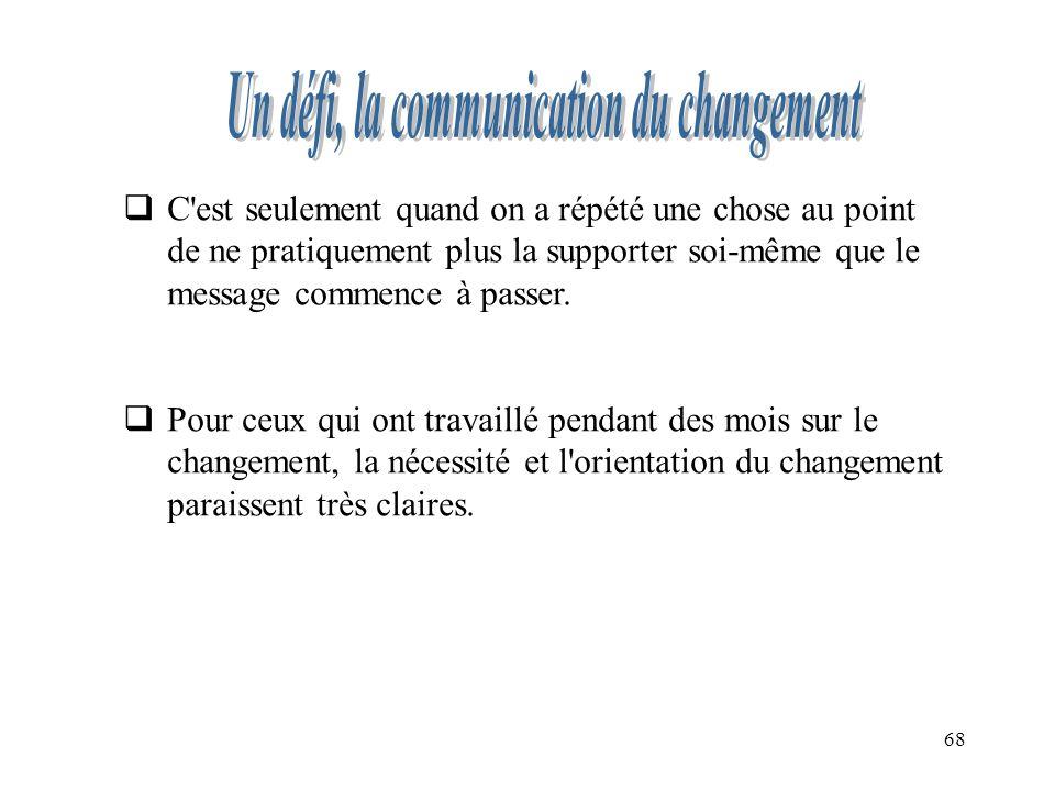 Un défi, la communication du changement