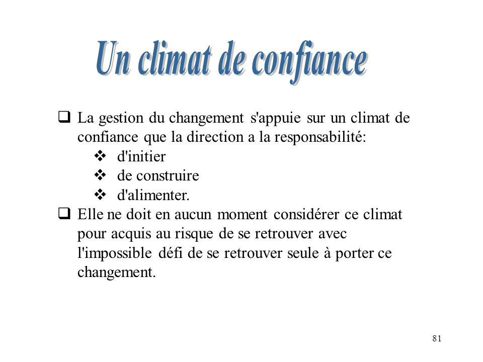 Un climat de confiance La gestion du changement s appuie sur un climat de confiance que la direction a la responsabilité: