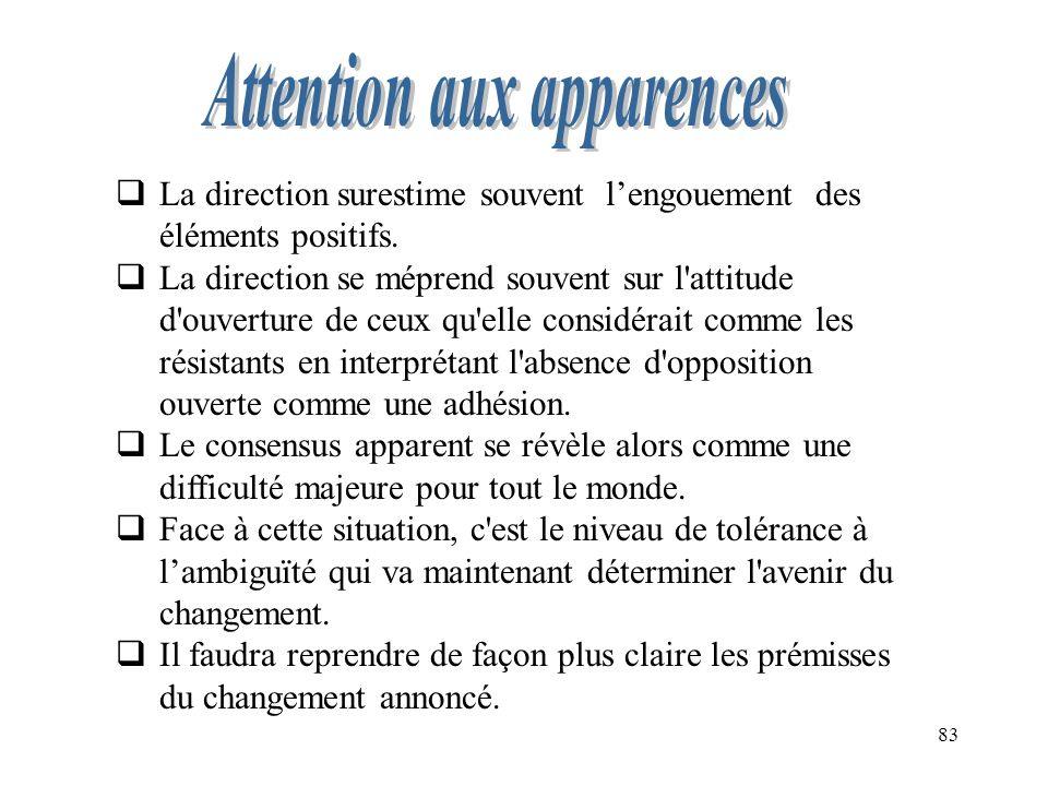 Attention aux apparences