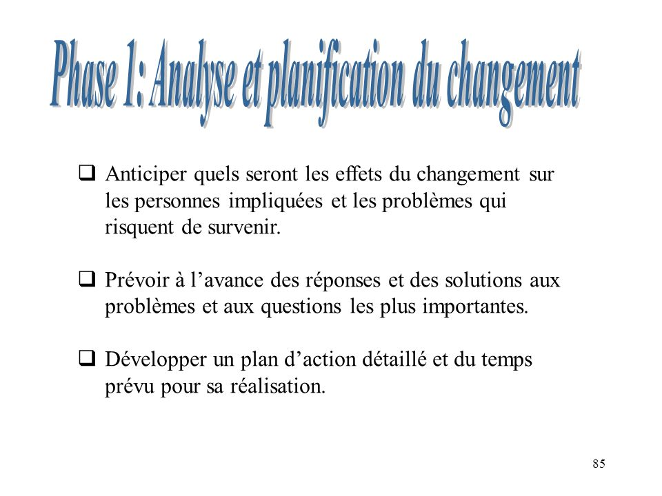 Phase 1: Analyse et planification du changement