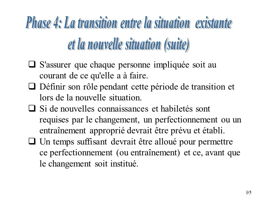 Phase 4: La transition entre la situation existante