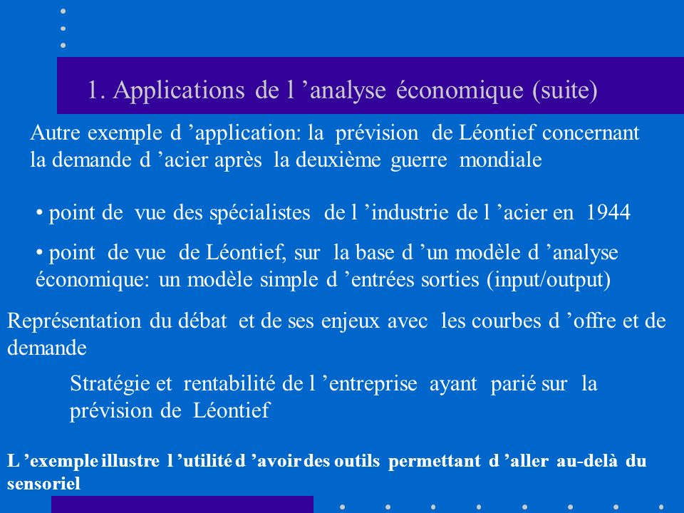 1. Applications de l 'analyse économique (suite)